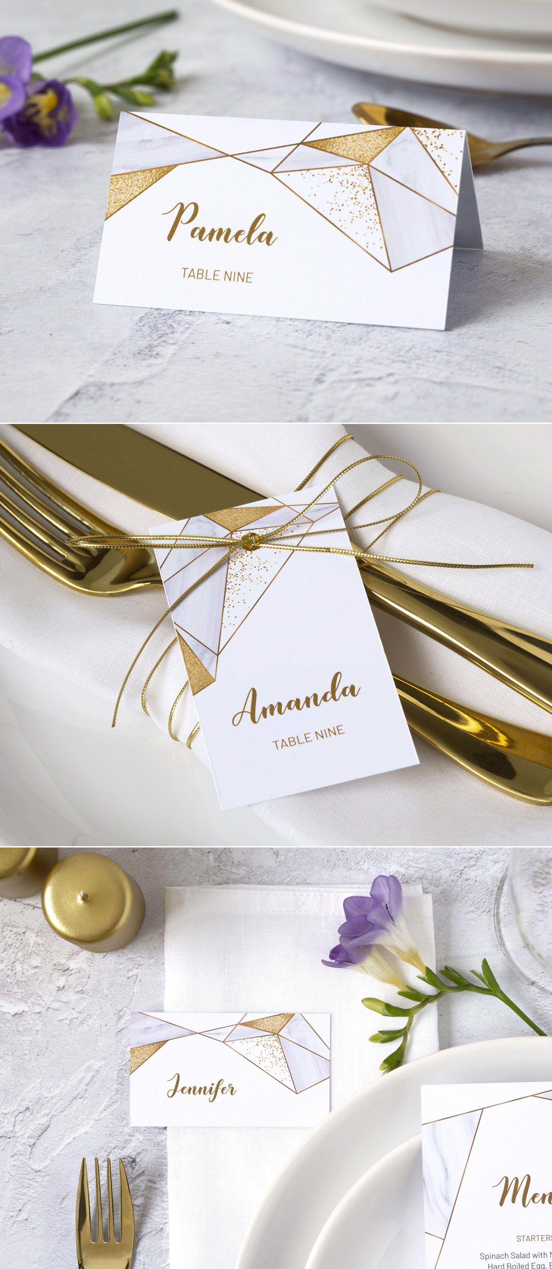 1e76eca26fab Creative wedding place cards for geometric themed wedding! Design ...