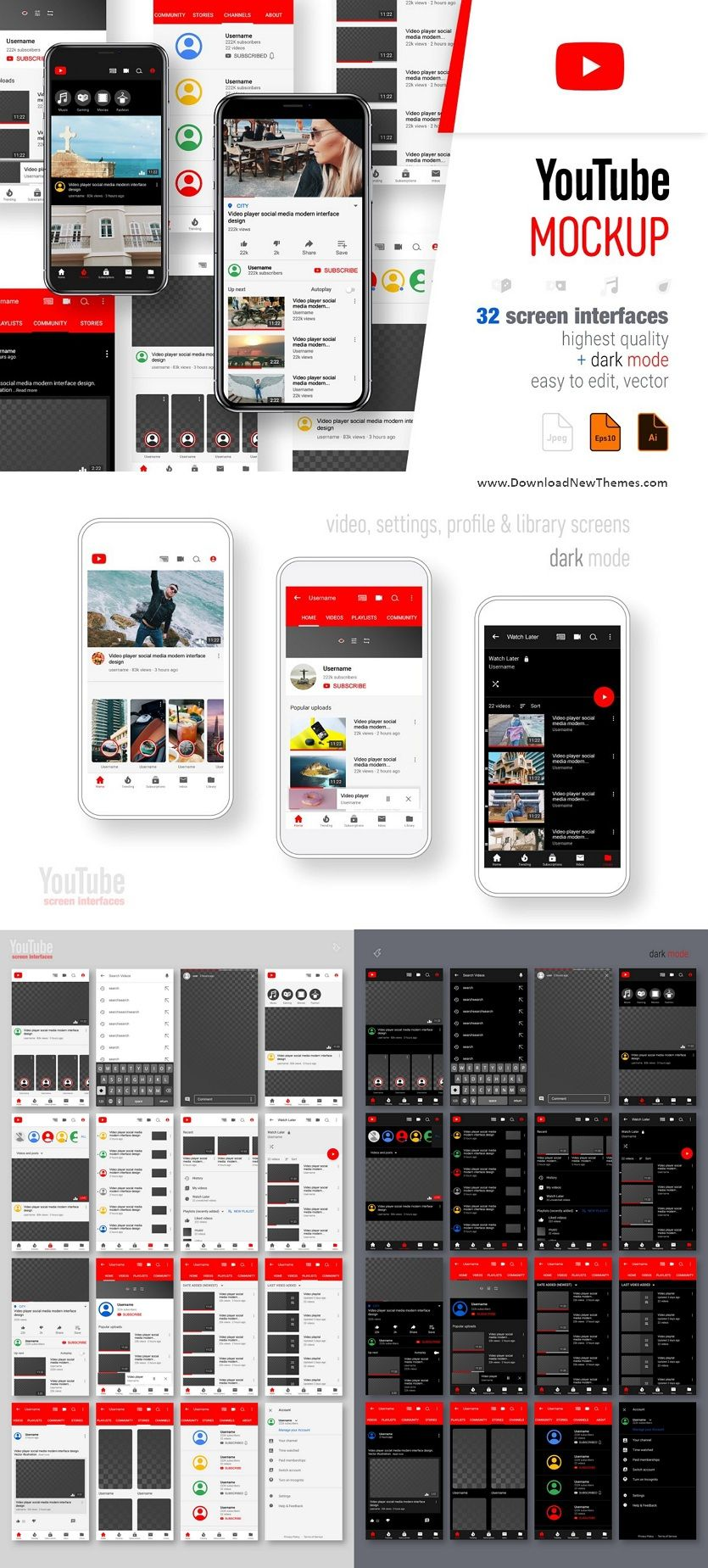 Download Youtube Screen Interfaces Youtube Design Youtube Mockup Design