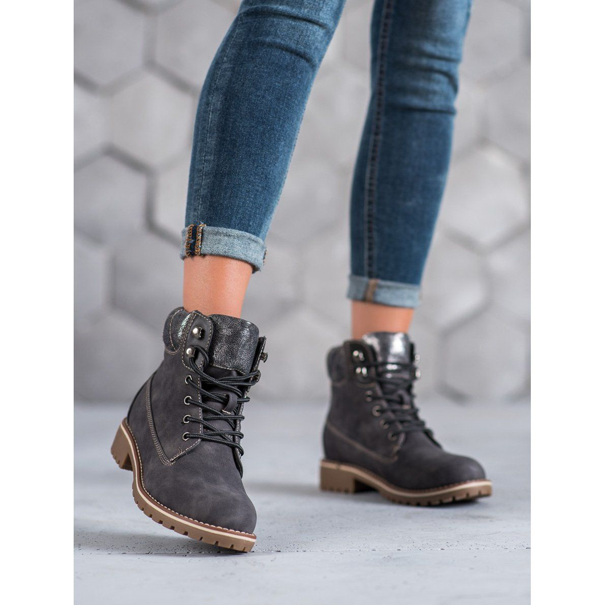 Super Me Wiazane Trapery Szare Boots Womens Boots Boot Shoes Women