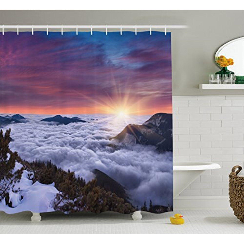 Waterproof Fabric Shower Curtain Hook Autumn Mountain Sunset Scenic Bathroom Set