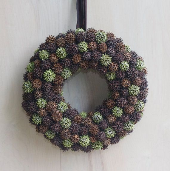 Autumn Wreath Gumball Wreath Green Copper Brown Fall Wreath Pinecones Glitter Fall Wreath Unique Modern Sweet Gum Tree Crafts Sweet Gum Wreaths