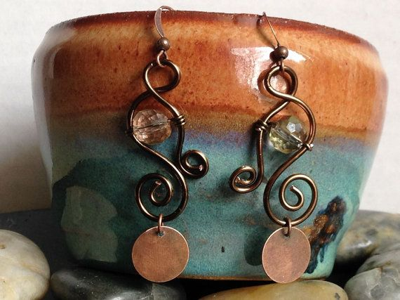 Copper Wire Wrapped Earrings  Swarovski Crystal by AccentsByCat