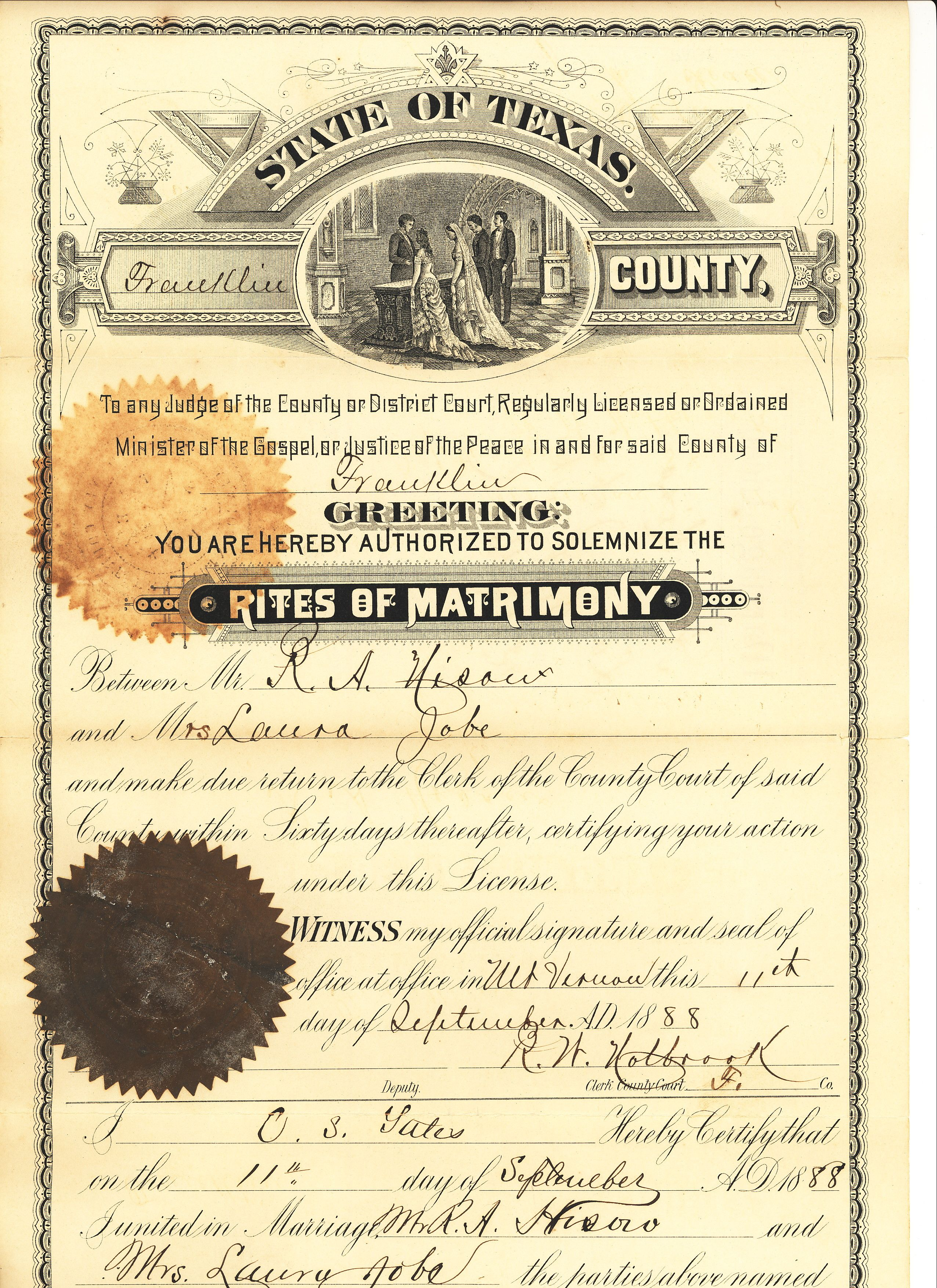 Marriage License Franklin Co Tx September 1888 Robert A Hisaw S First Marriage To Mrs Laura Hopkins Job Mary And Martha Vintage Photos Marriage License