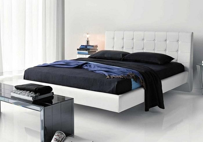 White Leather Headboard Bed With Black Mattress