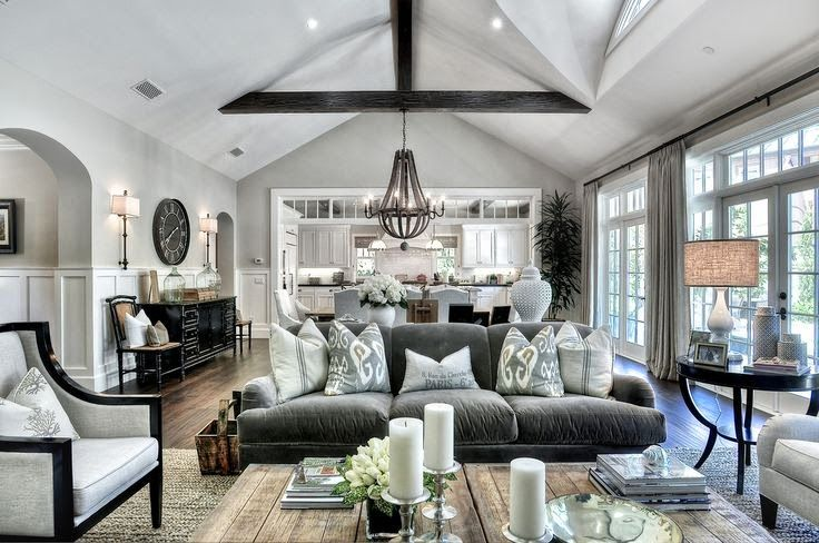Beautiful Traditional Gray And White Large Open Living Room Sisal Wood Chandelier House Interior Home Living Room House Styles