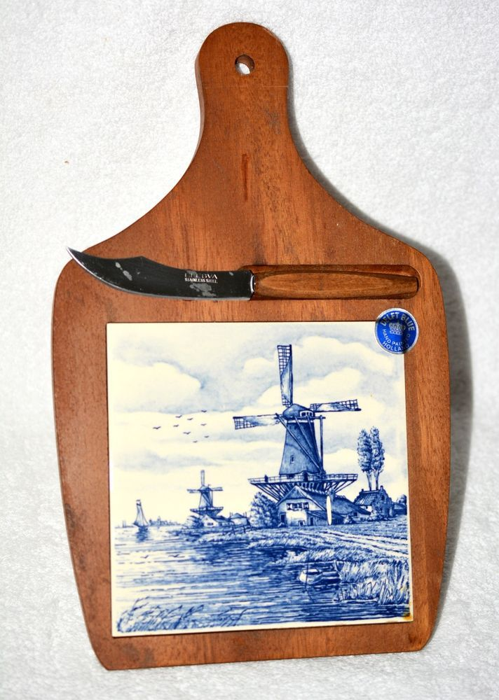 Delft Delft Tile Inset On Wood Frames Two Vintage Delft Wall Plaques