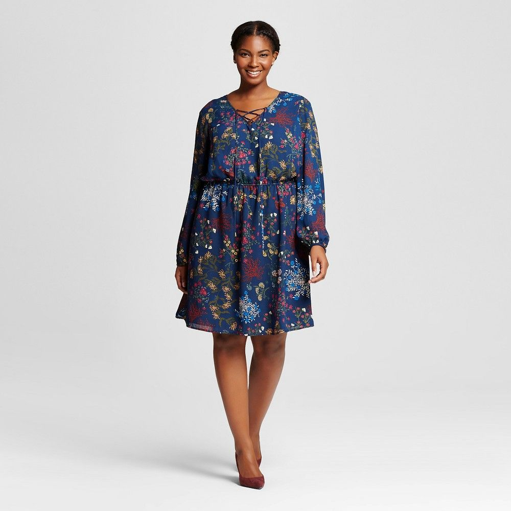 15cc14fceb4 Women s Plus Size Printed Peasant Dress Navy