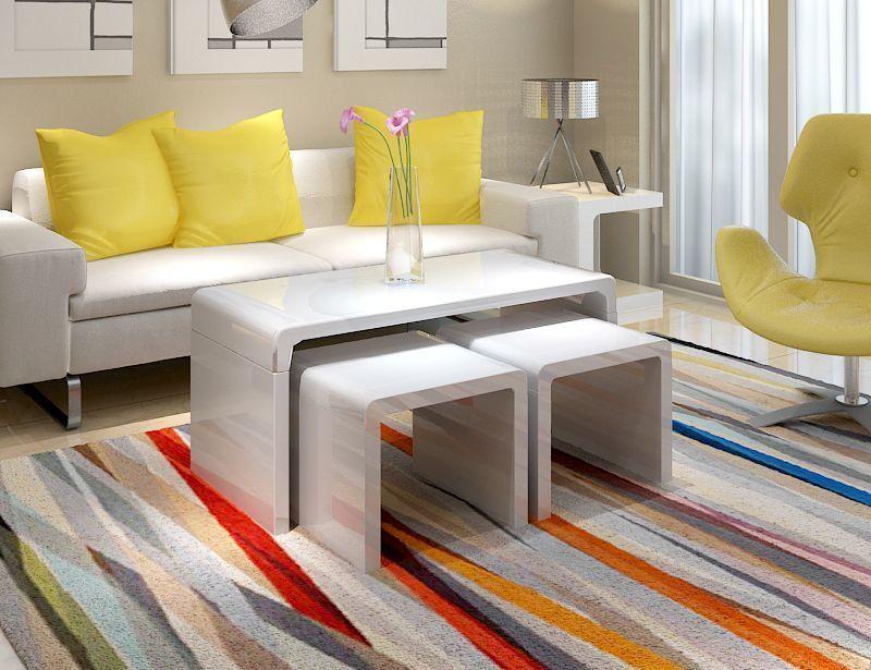 Modern design high gloss white coffee table side/end nest table set living  room - Modern Design High Gloss White Coffee Table Side/end Nest Table