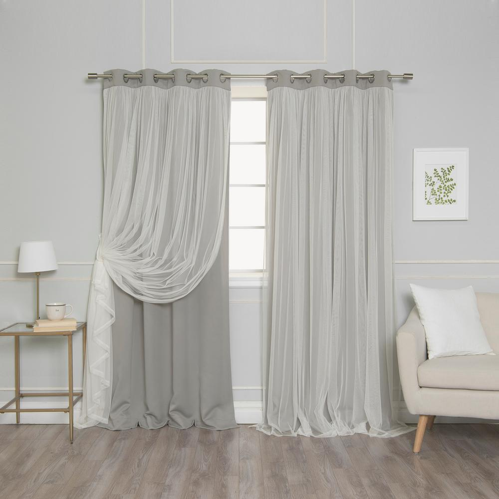 Best Home Fashion 96 In L Dove Marry Me Lace Overlay Blackout Curtain Panel 2 Pack Grom Bo Marryme 96 Dove Cool