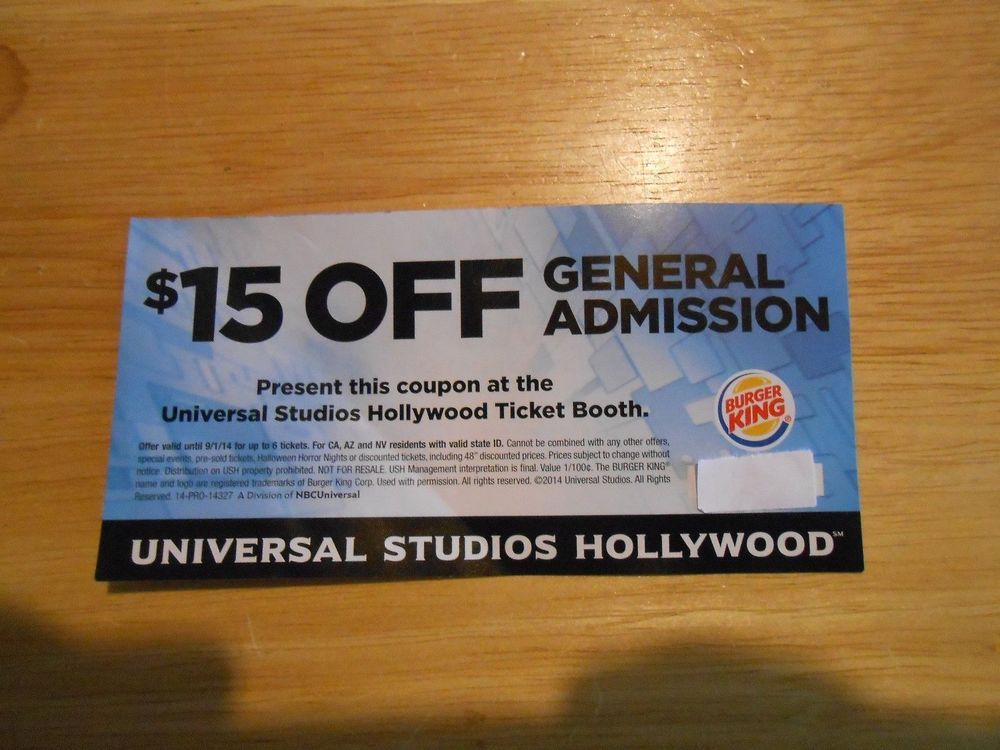 6 UNIVERSAL STUDIOS HOLLYWOOD $15 OFF GENERAL ADMISSION BUY A DAY ...