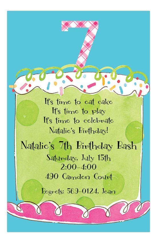 Girl Seventh Birthday Invitation Kids Birthday Party Invitations Birthday Party Invitation Wording 2nd Birthday Invitations