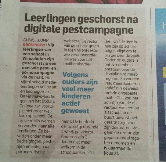 Leerlingen gewchorst na digitale pest campagne. Algemeendagblad 7 februari  2015