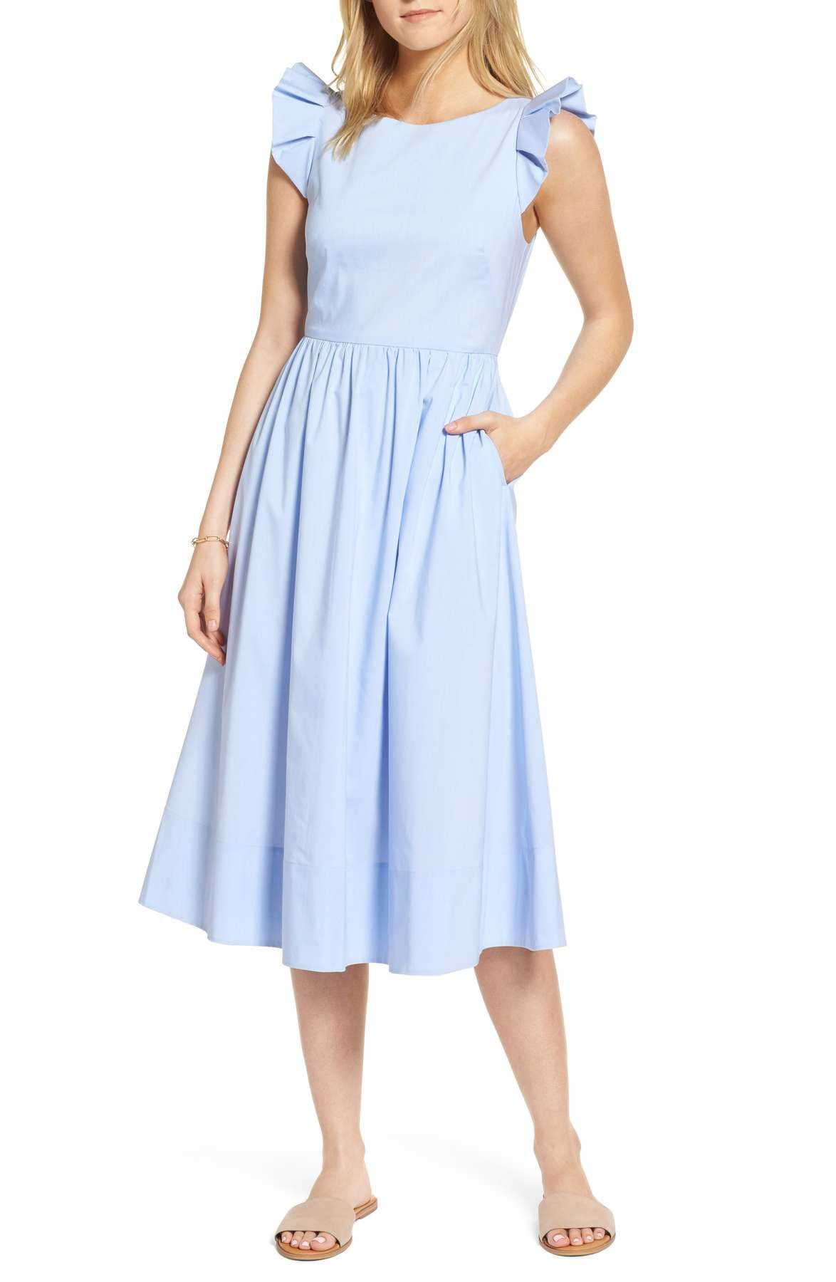 e554082f Nordstrom - 1901 Ruffle Fit & Flare Midi Dress | Motherhood Sessions ...