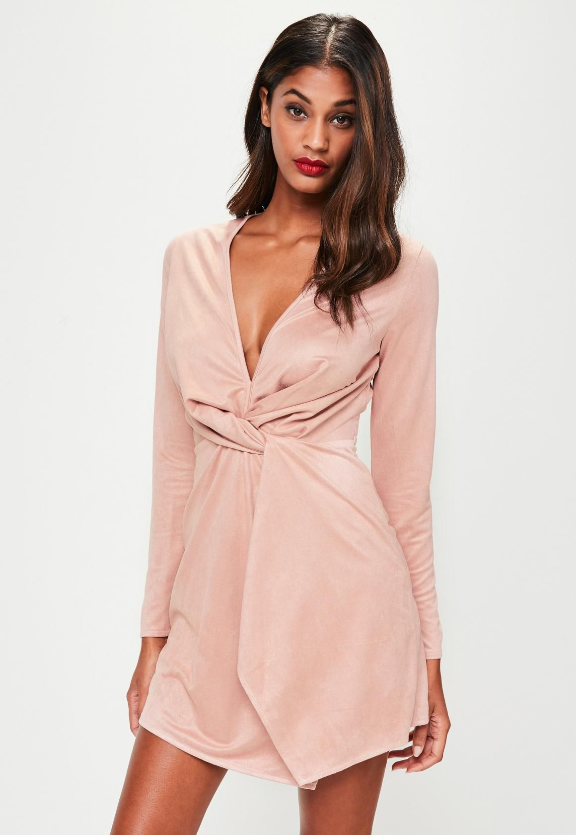 48784250d3 Missguided - Pink Faux Suede Twist Front Dress