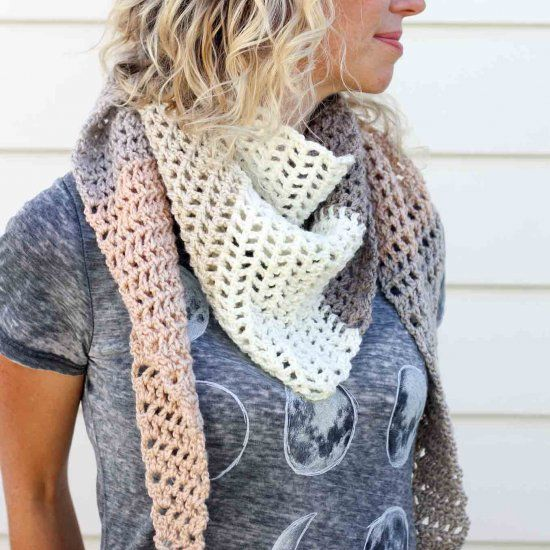 This modern triangle scarf is easy to whip up for a cool fall day ...