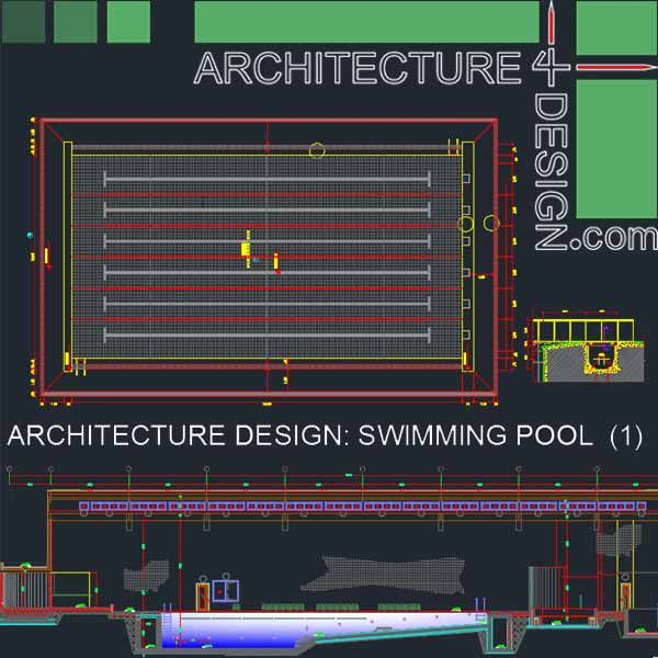 Sport Complex Swimming Pool Architecture Design Autocad Drawings Collection