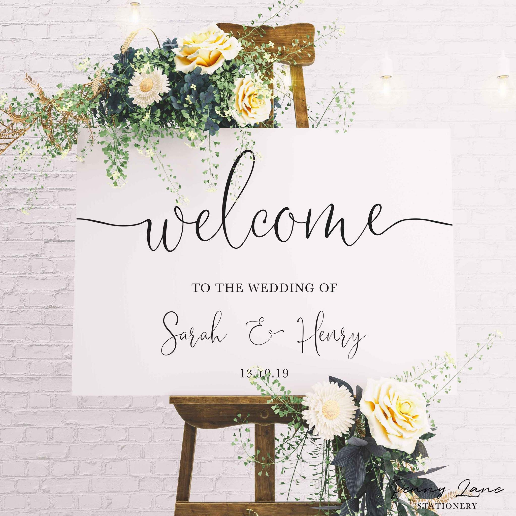Sophia Minimalist Wedding Welcome Sign In 2020 Wedding Welcome Signs Wedding Entrance Decor Wedding Entrance Sign