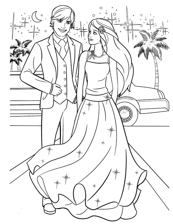 Barbie And Ken Going To Prom Party Coloring Pages Bulk Color Barbie Coloring Pages Barbie Coloring Cartoon Coloring Pages