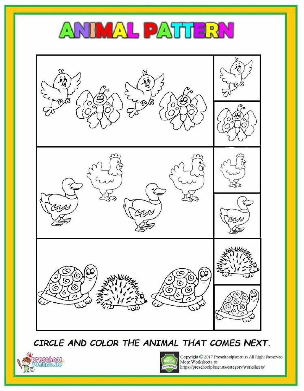 Animal Pattern Worksheet Coloringsheet Worksheets