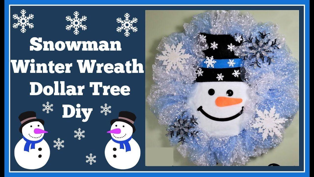 Winter Snowman Wreath Dollar Tree Diy Very easy. YouTube