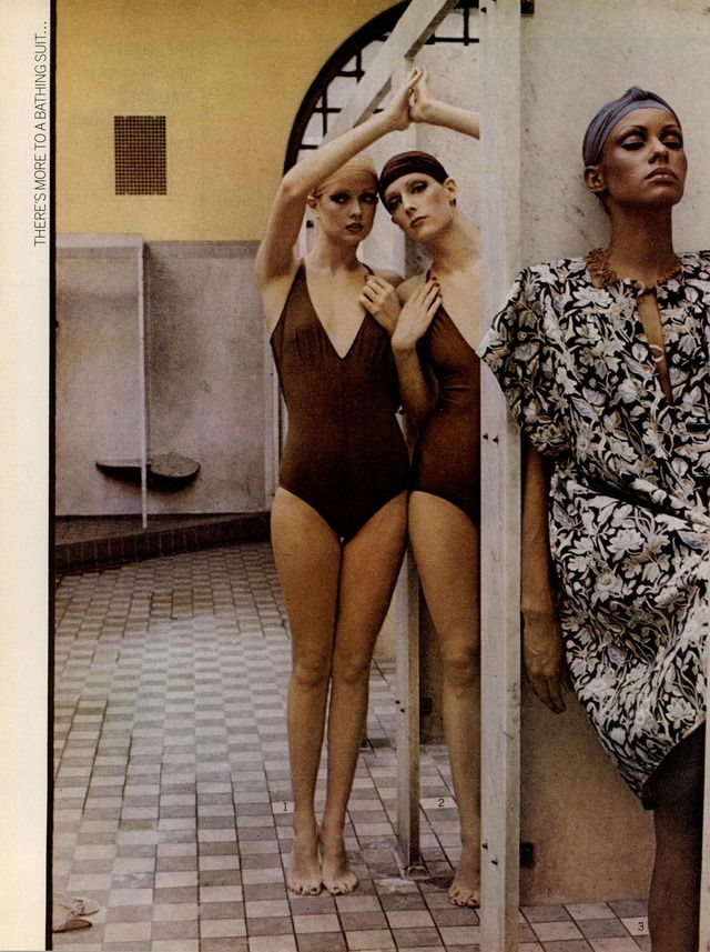 DEBORAH TURBEVILLE Vogue Editorial There's More to a Bathing Suit Than Meets The Eye, May 1975 Shot #4