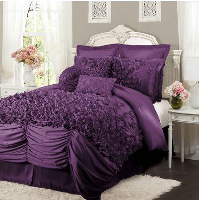 Purple Girly Frilly Ruffles Bedding Purple Comforter Set