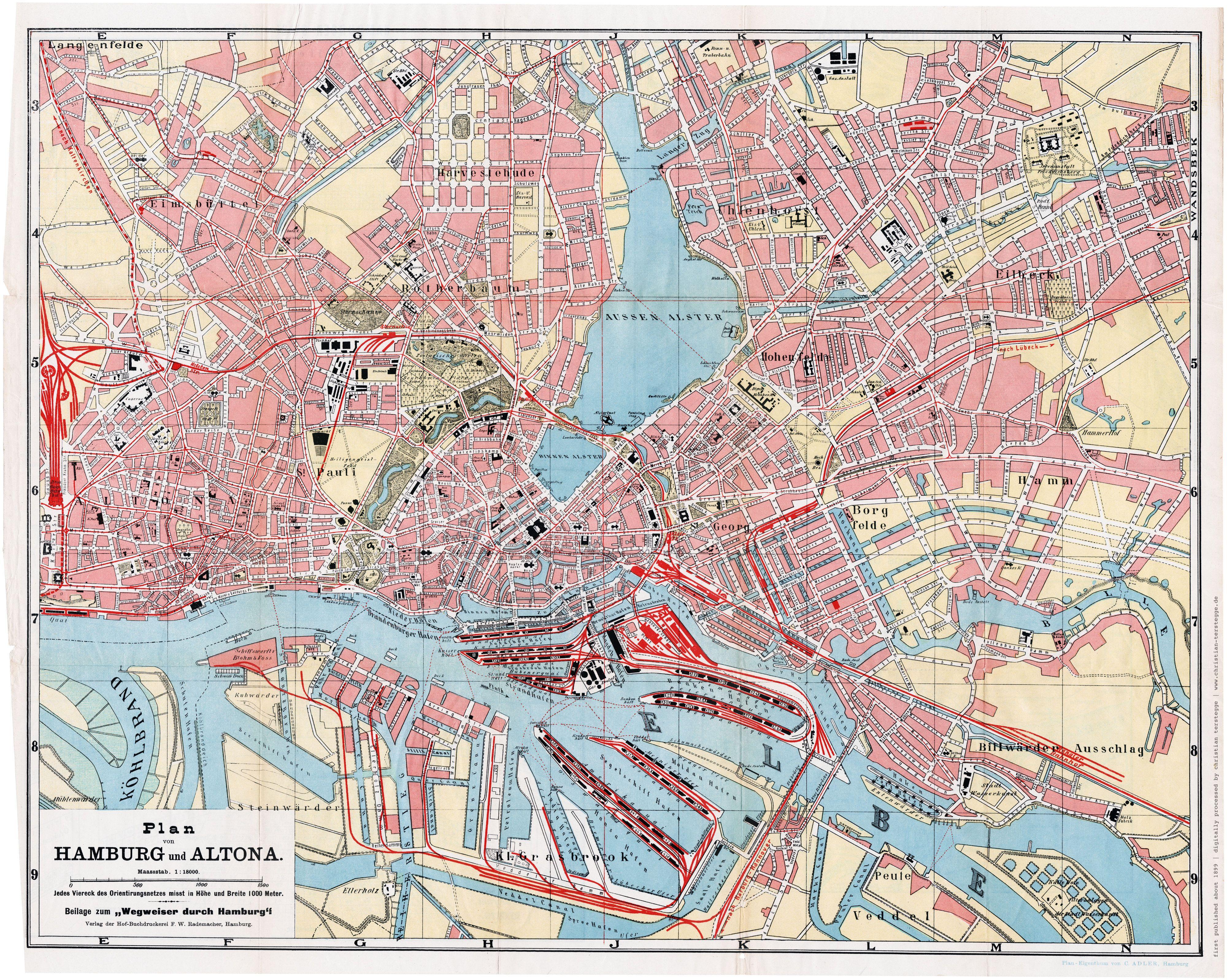 Karte Hamburg 1899 Plan Von Hamburg Und Altona C Adler Verlag