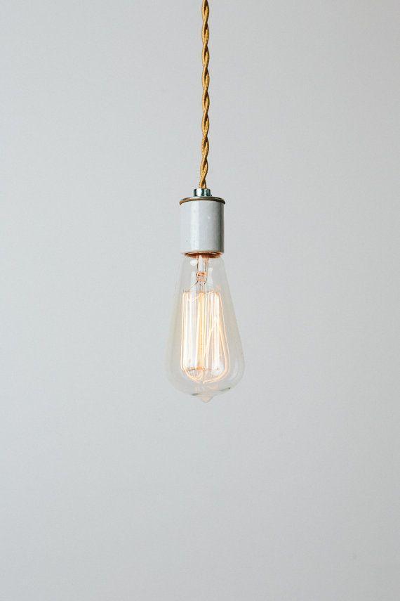 Bare Bulb Pendant Light With Handmade Copper Ceiling Canopy   Maxwell  Pendant   Simple Modern Edison