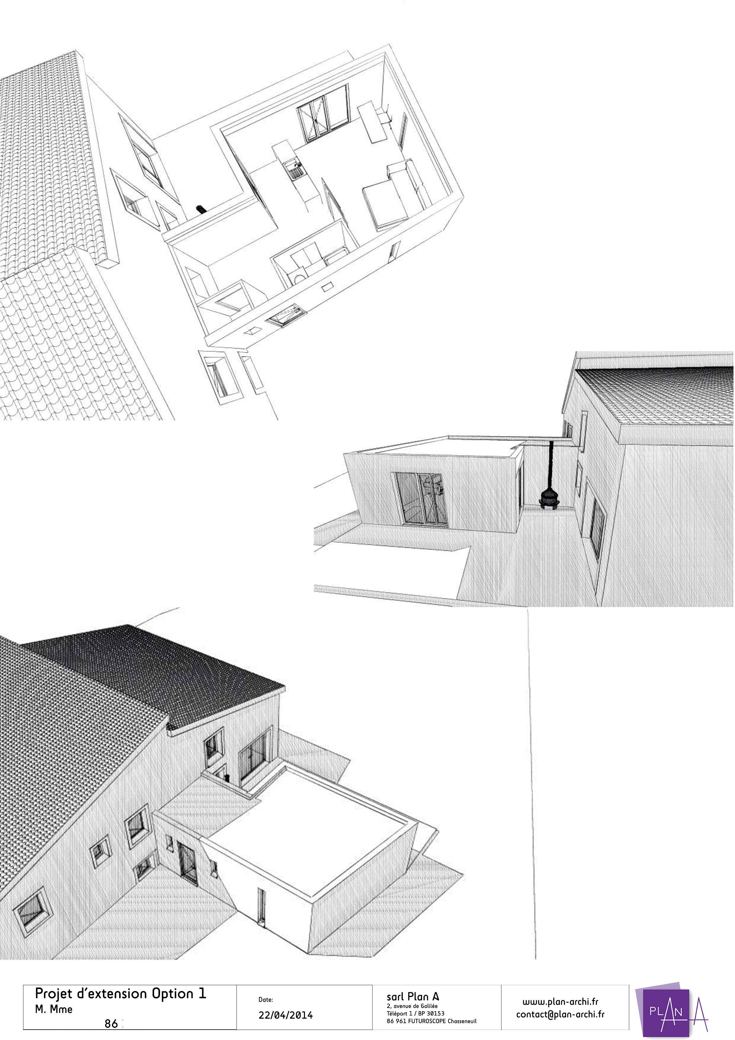 Proposition en toiture terrasse  de l'extension
