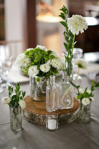 La decoraci n de mis mesas centros de mesa con troncos de - Troncos de madera para decorar ...