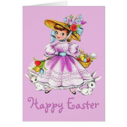 Retrovintage easter girl card retrovintage easter girl card girl gifts special unique diy gift idea negle Images
