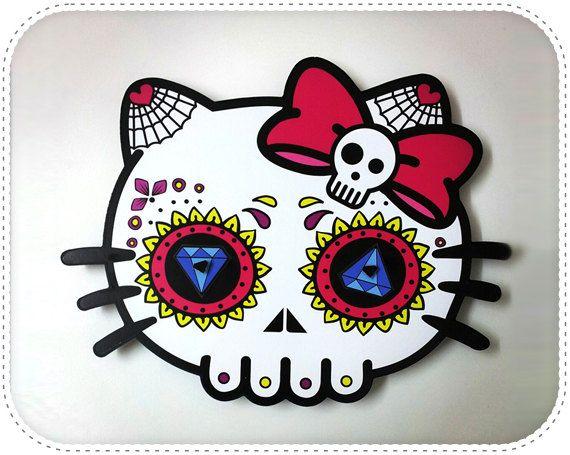 Hello Kitty - Sugar Skulls - Wall Clock - Day of the Dead - Dia De - hello kitty halloween decorations