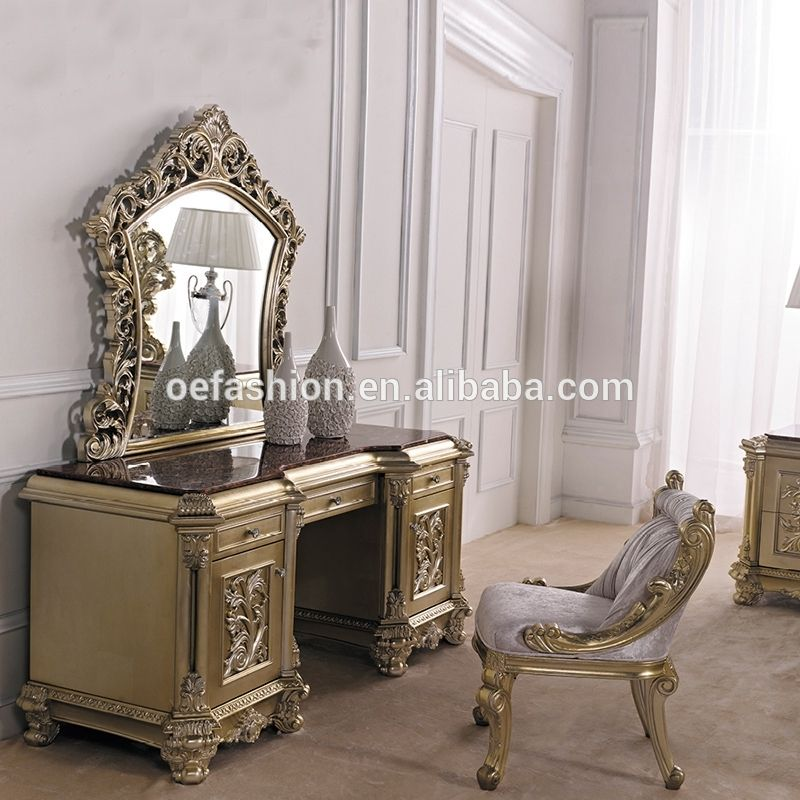 Luxury Beauty Vintage Makeup Wooden Gold Vanity Table Furniture Dresser Set View Bedroom Sets Oe Fashion Product Details From Foshan