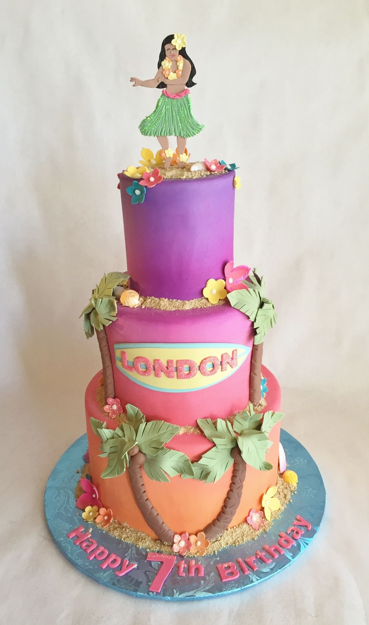 Birthday cake | Hawaiian | Hawaii | luau | hula girl | palm trees | fondant | sunset | sand | blossoms