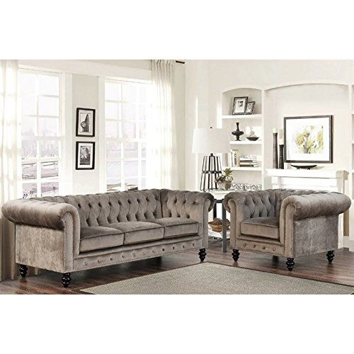 Abbyson Living Room 2 Piece Velvet Sofa/Couch and Chair Set in Gray. $1,773.58.  Shipping is FREE!! #affiliate
