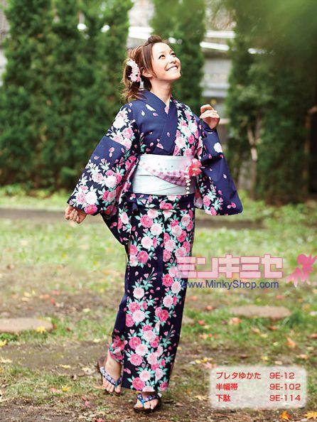 bfff68fe7 LENA FUJII Cherry Blossom Dark Blue Yukata Set | Lena fujii style ...