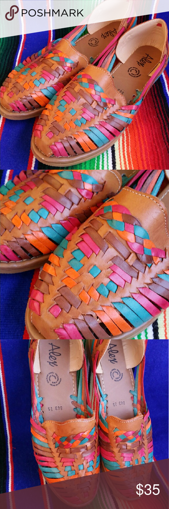 7f37a0a5d61 Colorful Womens Leather Huarache Sandals Size 7 Soft brown leather Pretty  colors even throughout Traditional Mexican sandals Handmade and never been  worn ...