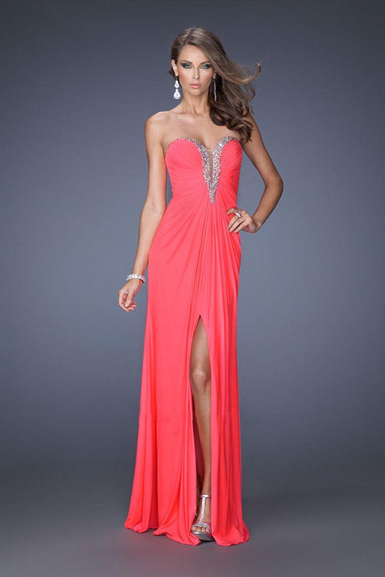 Elaborately prom dresses sweetheart column floor length ruffled