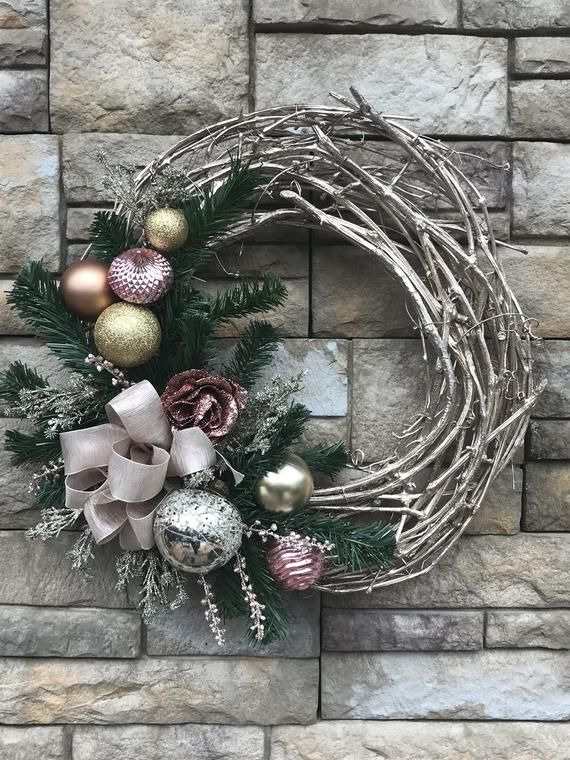 Champagne Rose Gold Christmas Wreath-Champagne Grapevine Holiday Wreath-Rose Gold Christmas Decor-Holiday Decor-Christmas Wreath images