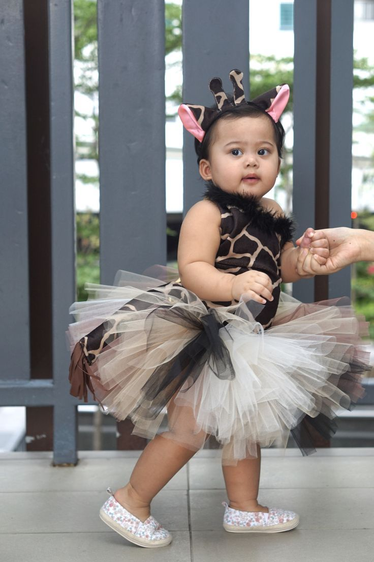 Giraffe costume tutu for a first birthday party (first
