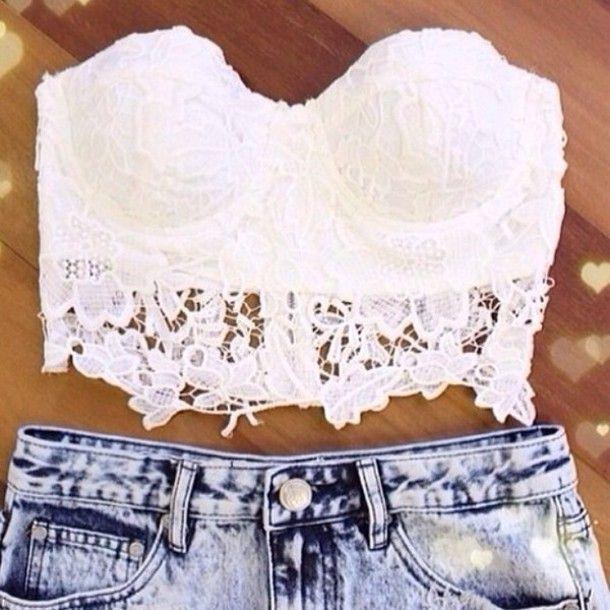 29d4e4e027 t-shirt white lace summer crop top corset