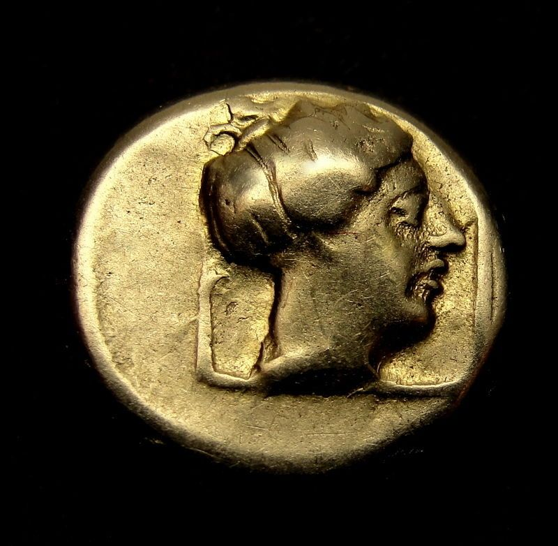 APOLLO and ARTEMIS. LESBOS. Ancient Greek Gold Coin.1/6 stater.Hecte Electrum