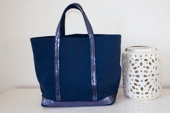 Sac taille M Bleu Indigo et paillettes Bleu Hortensia par Jomunini