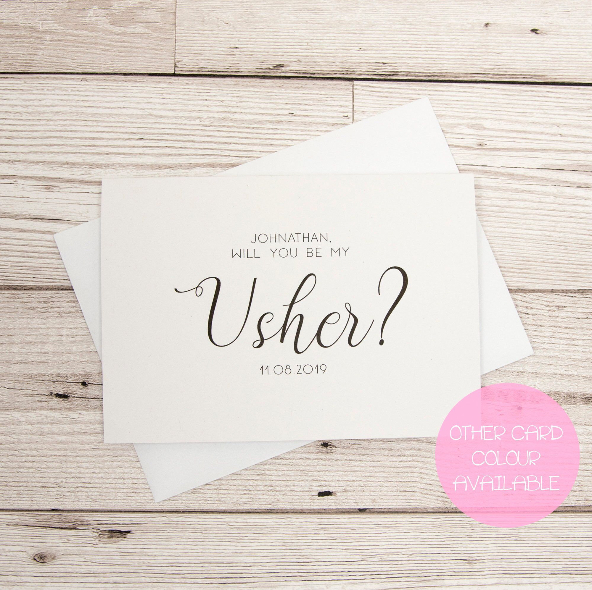 Usher proposal card will you be my usher personalised usher excited to share this item from my etsy shop usher proposal card will stopboris Images