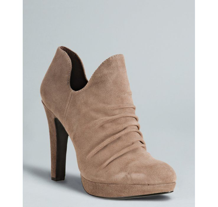 Rosegold ash suede 'Megean' ruched booties