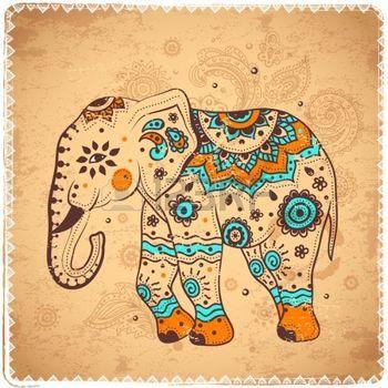 Set Von Hand Gezeichneten Isolierten Ethnischen Elefanten Elefant Zeichnung Elefanten Kunstproduktion