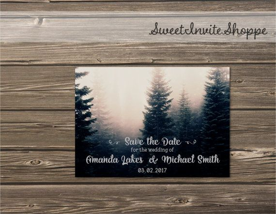 Forest Save The Date Card Rustic Mountain by SweetInviteShoppe