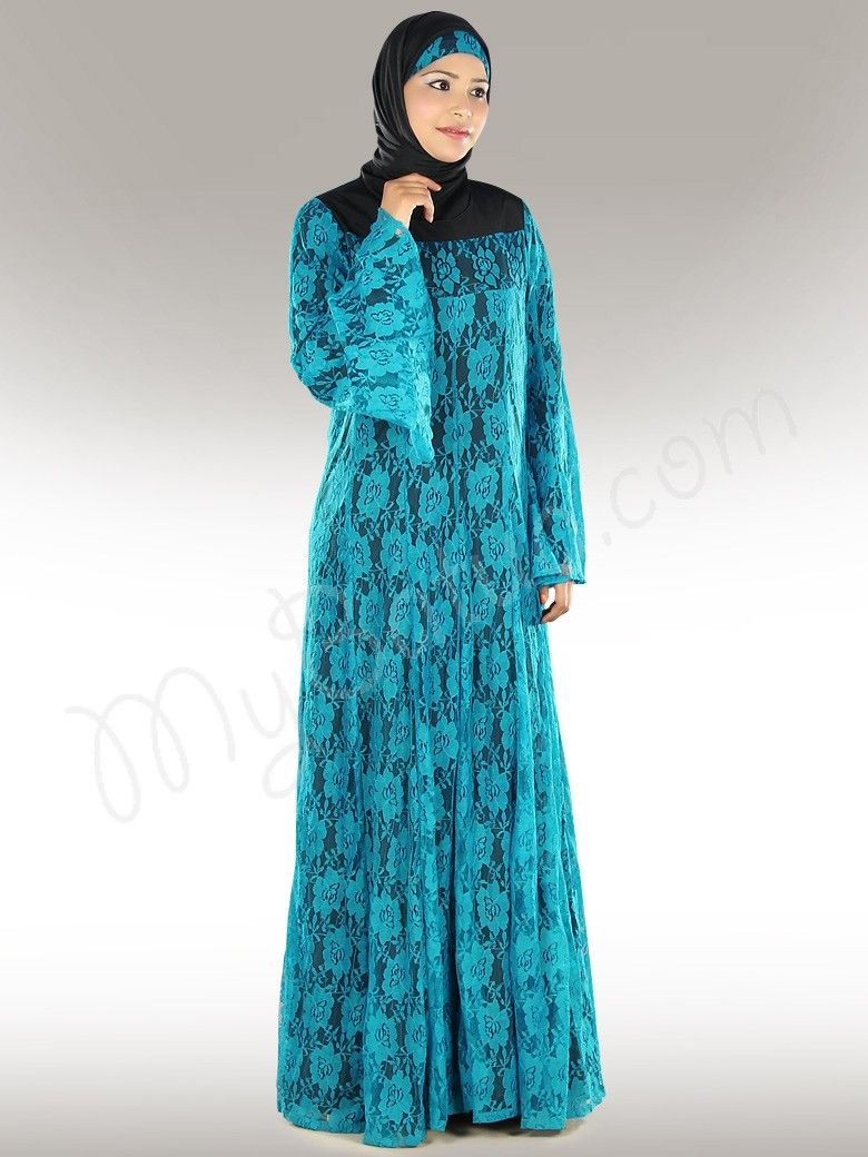 Nissa Blue Crepe and Flower Net Abaya in Regular and Plus Sizes ...
