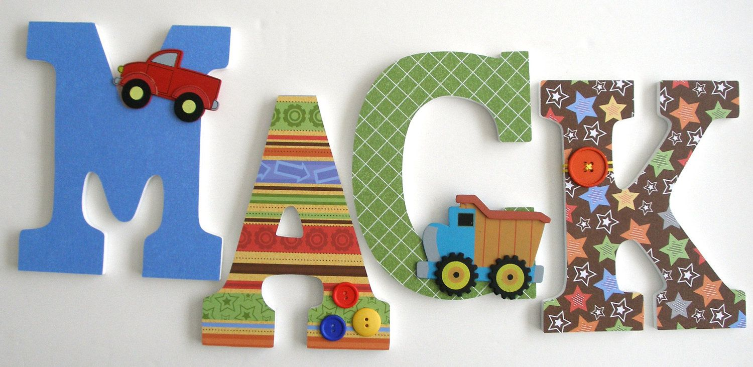 Custom Decorated Wooden Letters CONSTRUCTION Theme