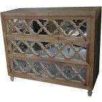 MOTI Furniture - 3 Drawer Cabinet with Antique Mirror - 41015001